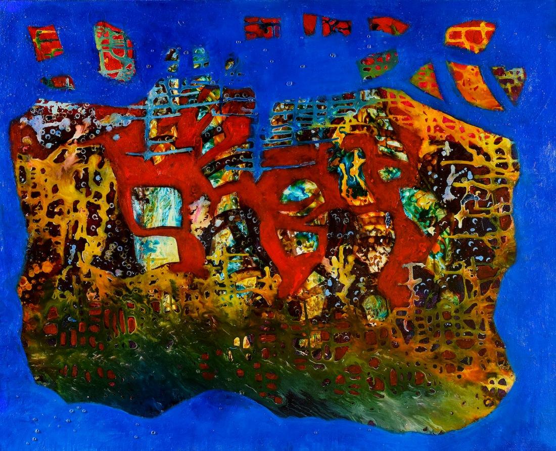 arca de noe, resinas y pigmentos sobre canvas, 80x100cm