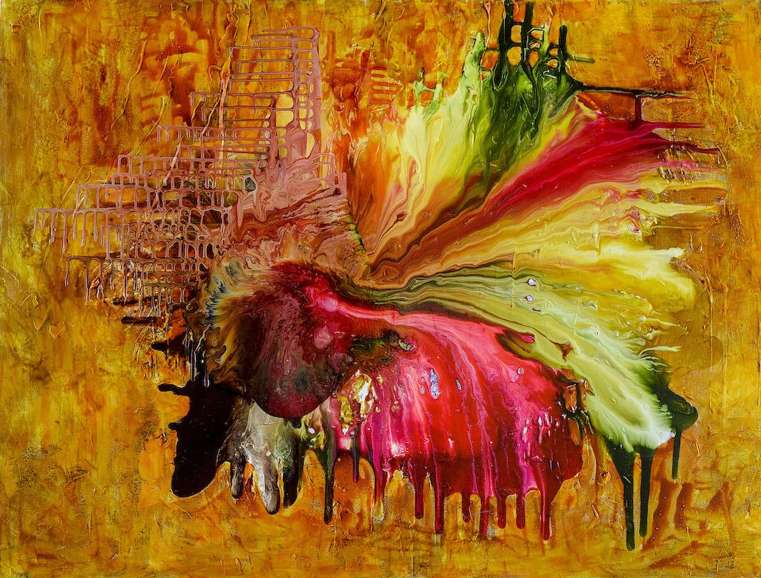 archipielago,resinas y pigmentos sobre canvas, 90x120cm