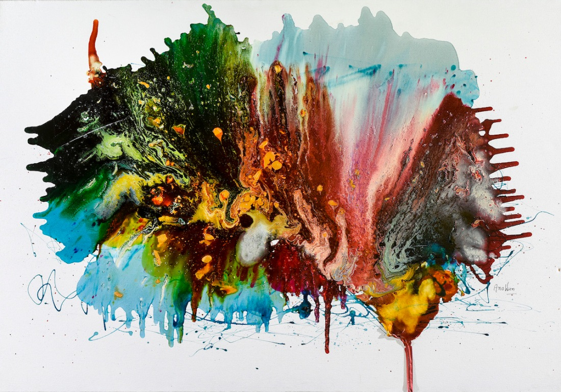 el cielo se encuentra con la tierra 100x150cm resinas y pigmentos sobre canvas