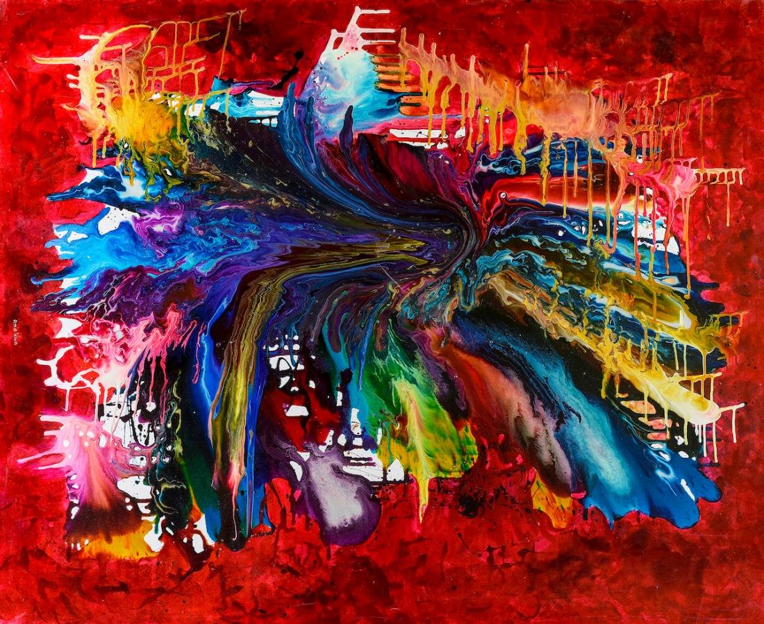 explosion cosmica 100x150cm resinas y pigmentos sobre canvas